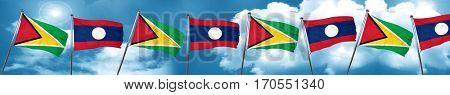 Guyana flag with Laos flag, 3D rendering