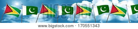 Guyana flag with Pakistan flag, 3D rendering