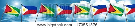 Guyana flag with Philippines flag, 3D rendering