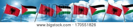 Albania flag with Palestine flag, 3D rendering