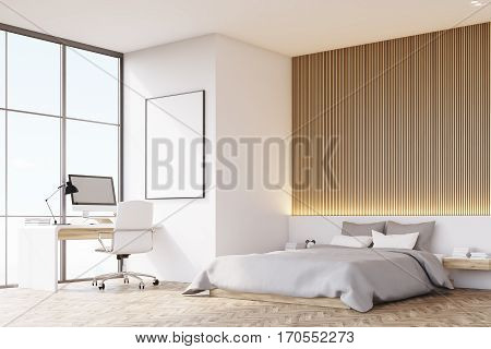 Bedroom With Wooden Floor, Table, Side View