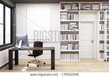 Home Library With A Brown Table