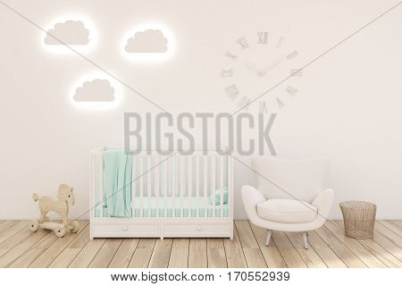 Kid's Room With Clocks, White Walls