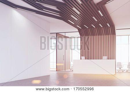 Reception Desk And Black Pipes, Corner, Toned