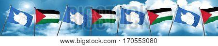 antarctica flag with Palestine flag, 3D rendering
