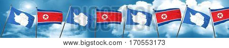 antarctica flag with North Korea flag, 3D rendering