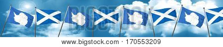 antarctica flag with Scotland flag, 3D rendering