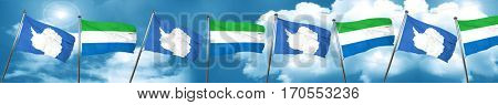 antarctica flag with Sierra Leone flag, 3D rendering