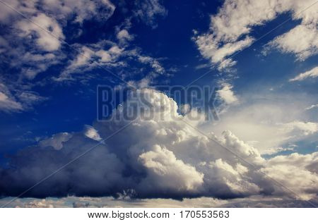 summer landscape beautiful cumulus clouds. Carpathian Ukraine Europe.
