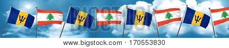 Barbados flag with Lebanon flag, 3D rendering