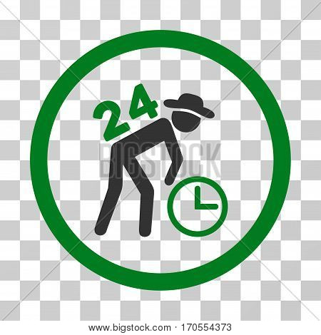 Around The Clock Work rounded icon. Vector bicolor illustration style is a flat iconic symbol inside a circle green and gray colors transparent background. Designed for web and software interfaces.