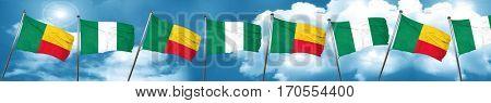 Benin flag with Nigeria flag, 3D rendering