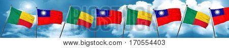 Benin flag with Taiwan flag, 3D rendering