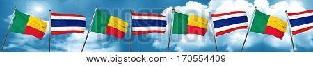 Benin flag with Thailand flag, 3D rendering