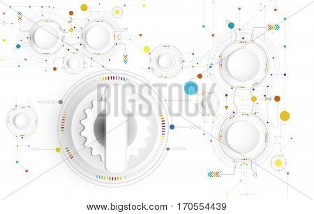 Vector illustration Hi-tech digital technology design colorful on circuit board and gear wheel engineering digital telecoms technology concept Abstract futuristic- technology on white color background.