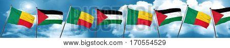 Benin flag with Palestine flag, 3D rendering