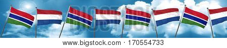 Gambia flag with Netherlands flag, 3D rendering