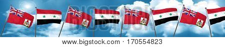 bermuda flag with Syria flag, 3D rendering