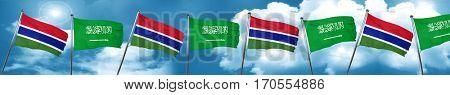 Gambia flag with Saudi Arabia flag, 3D rendering