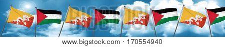 Bhutan flag with Palestine flag, 3D rendering