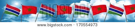 Gambia flag with Morocco flag, 3D rendering