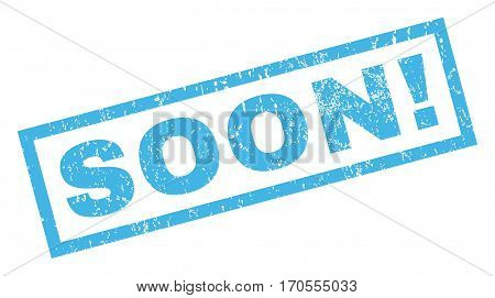 Soon exclamation text rubber seal stamp watermark. Tag inside rectangular banner with grunge design and dirty texture. Inclined vector blue ink emblem on a white background.