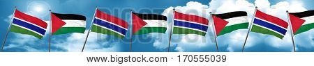 Gambia flag with Palestine flag, 3D rendering