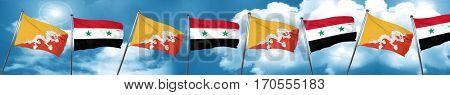 Bhutan flag with Syria flag, 3D rendering