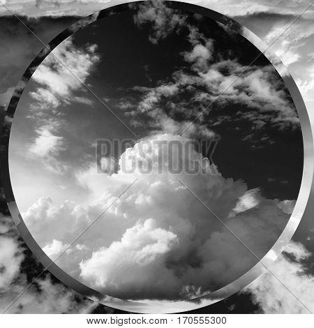 Summer landscape. Beautiful cumulus clouds black - white