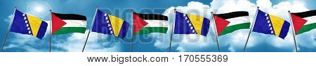 Bosnia and Herzegovina flag with Palestine flag, 3D rendering