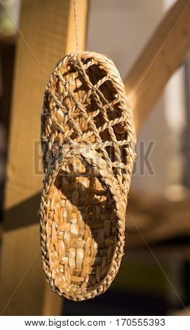 Traditional romanian countryside shoe made from raffia