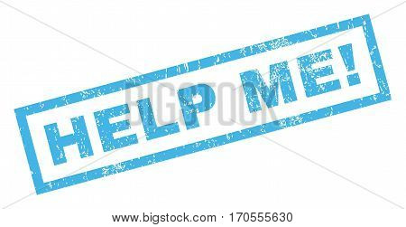 Help Me exclamation text rubber seal stamp watermark. Caption inside rectangular banner with grunge design and dirty texture. Inclined vector blue ink sticker on a white background.