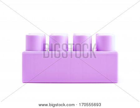 Single plastic toy construction block brick isolated the white background
