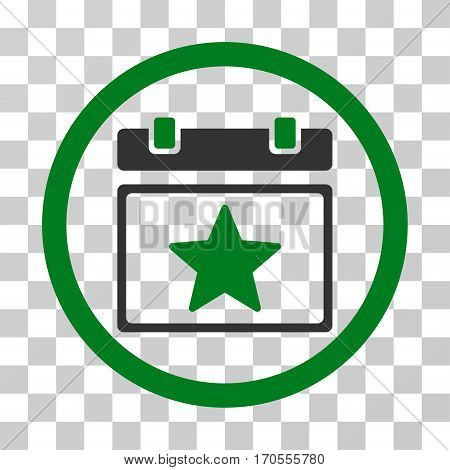 Favourites Day rounded icon. Vector bicolor illustration style is a flat iconic symbol inside a circle green and gray colors transparent background. Designed for web and software interfaces.