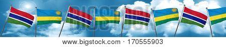 Gambia flag with rwanda flag, 3D rendering