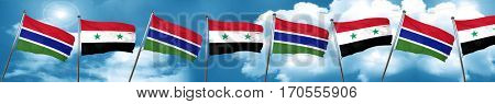 Gambia flag with Syria flag, 3D rendering