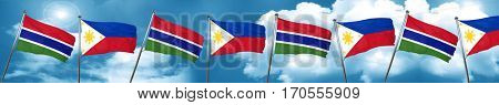 Gambia flag with Philippines flag, 3D rendering