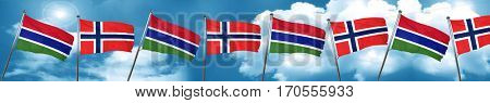Gambia flag with Norway flag, 3D rendering