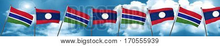 Gambia flag with Laos flag, 3D rendering