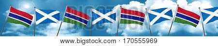 Gambia flag with Scotland flag, 3D rendering