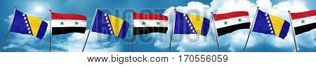 Bosnia and Herzegovina flag with Syria flag, 3D rendering