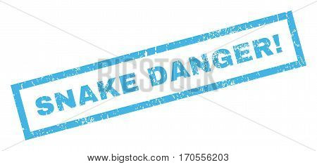Snake Danger exclamation text rubber seal stamp watermark. Tag inside rectangular shape with grunge design and dust texture. Inclined vector blue ink emblem on a white background.