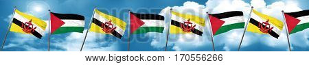 Brunei flag with Palestine flag, 3D rendering