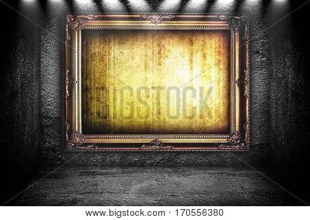 picture frames on rough interior background