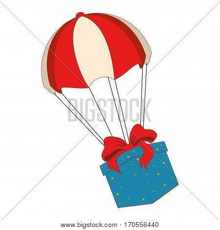 parachute with giftbox present isolated icon vector illustration design