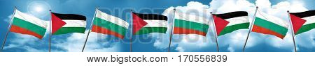 bulgaria flag with Palestine flag, 3D rendering