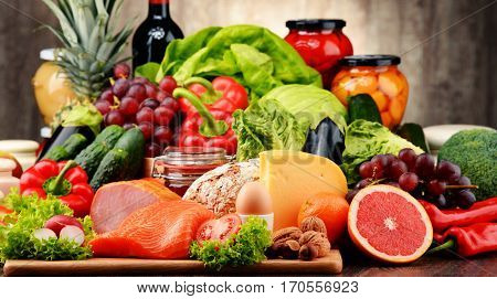 Organic Food Including Vegetables, Fruit, Bread, Dairy And Meat