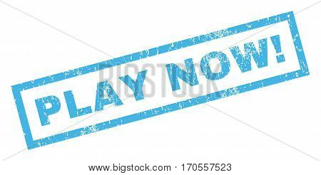 Play Now exclamation text rubber seal stamp watermark. Caption inside rectangular shape with grunge design and dust texture. Inclined vector blue ink sign on a white background.