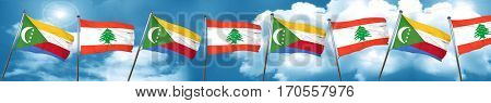 Comoros flag with Lebanon flag, 3D rendering