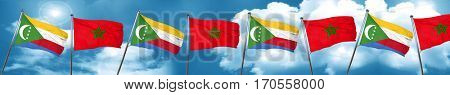 Comoros flag with Morocco flag, 3D rendering